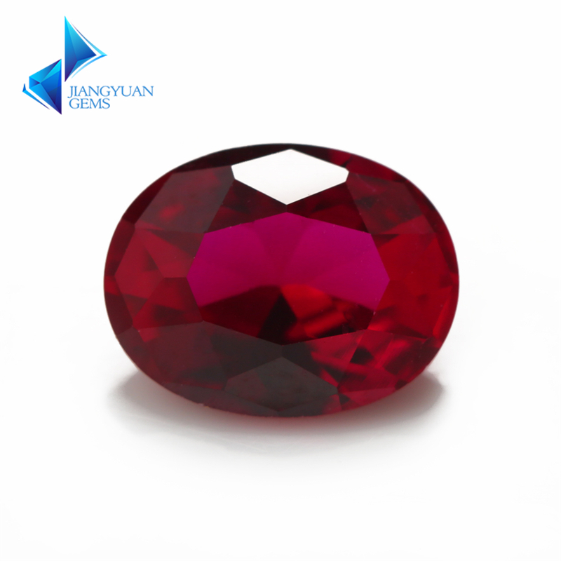 Size 3x5~10x12mmFactory Price 8# Oval Cut Red Stone Synthetic Corundum Gems stone For jewelry
