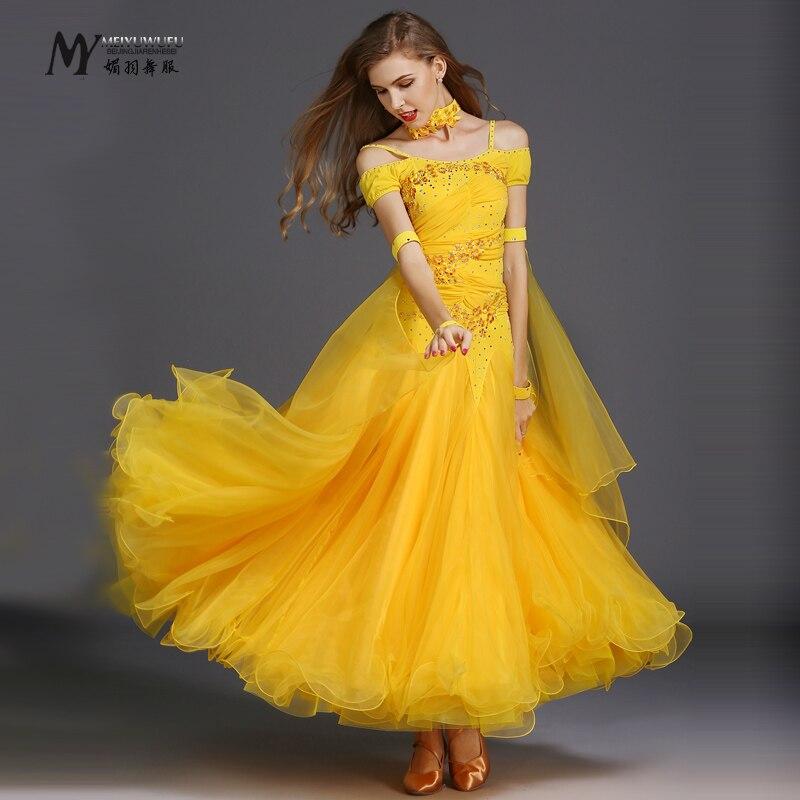 2017Nová soutěž společenský sál Standardní taneční šaty taneční oblečení jeviště společenské šaty