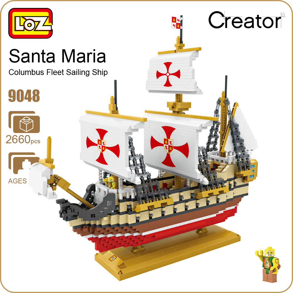 LOZ Diamond Blocks Santa Maria Ship Model Boat Blocks Creator Building Assembly Toy Kids Micro Brick Educational Toys DIY 9048 1681pcs assembly blocks burj khalifa tower model toy diamond bricks kids gifts birthday present compatible creator 16 16 45cm