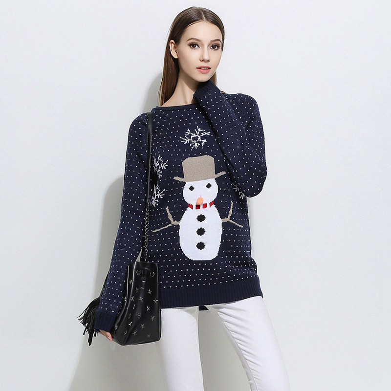 Fashion 2016 Women Winter Thick Christmas Pullovers Sweater Korean Embroidery Character Sweaters Pull Femme hiver Kerst Trui