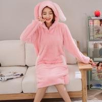 Winter Women Warm Night Dress 2019 New Sweet Girl Hooded Animal Sleepwear Nightwear Casual Lady Lovely Long Sleeve Nightgown