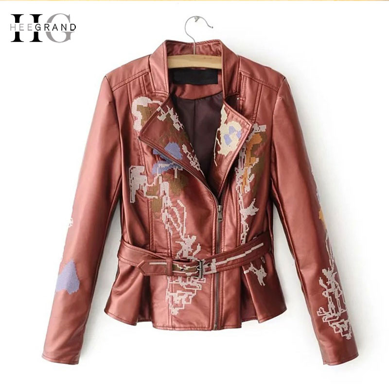 HEEGRAND Embroidery PU   Leather   Jackets Women 2018 Zipper Short Coats Female Motorcycle Jacket Slim Belted Chaquetas Mujer WWP210