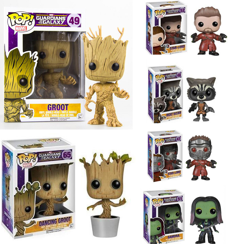 Funko Pop Guardians of Galaxy Groot Figure Star lord Action Figuras Gamora Rocket Raccoon Drax the Destroyer Star-lord Toys Gift new funko pop guardians of the galaxy tree people groot