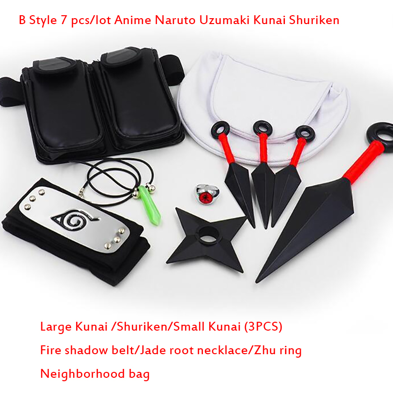 A B C Cosplay Accessories 7PCS Lot Anime Naruto Uzumaki Kunai Shuriken Kunay Konoha Wearing necklace Pendant Props Set toy gifts in Action Toy Figures from Toys Hobbies
