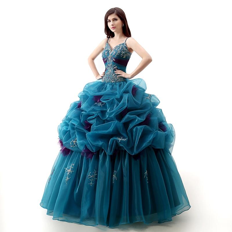 Backlackgirl élégant bleu Quinceanera robes 2018 robe de bal col en V brillant perlé cristal longueur de plancher Vestidos Debutantes 2018