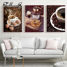 FULLCANG 3pcs diy diamond embroidery sale coffee bean biscuit painting triptych full square/round drill 5d mazayka FC882