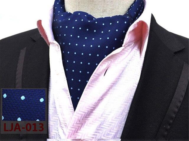 Cityraider Brand Designer New White Dot Print Mens Silk Cravat Wedding Neckties Men S Ascot Ties For
