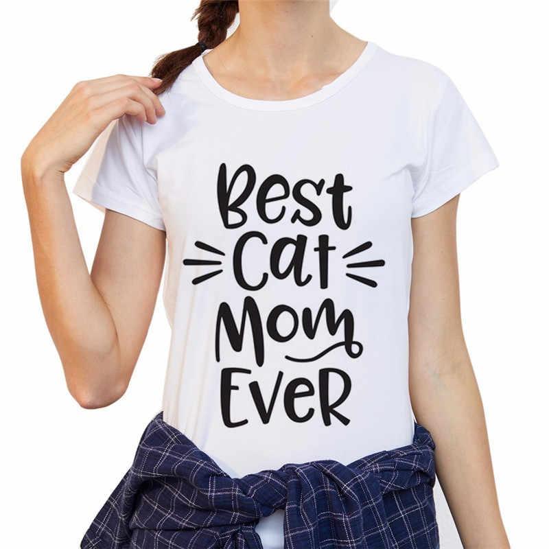 面白い半袖の Tシャツ世界最高の猫ママプリント Tシャツ女性の夏のファッションカジュアル女性の Tシャツ