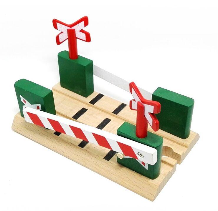 TTC29 Railroad Crossing B Wooden Train Scene Track Accessories BRIO Toy Car Truck Locomotive Engine Railway Toys For Children