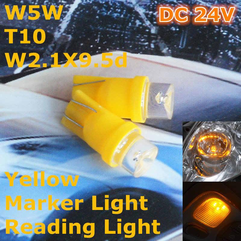 24 V LED Sarı Renk araba ampulü Lamba T10 (10mm projektör) w5W W2.1X9.5d Kapı Gövde Boot Lisans Okuma Işığı