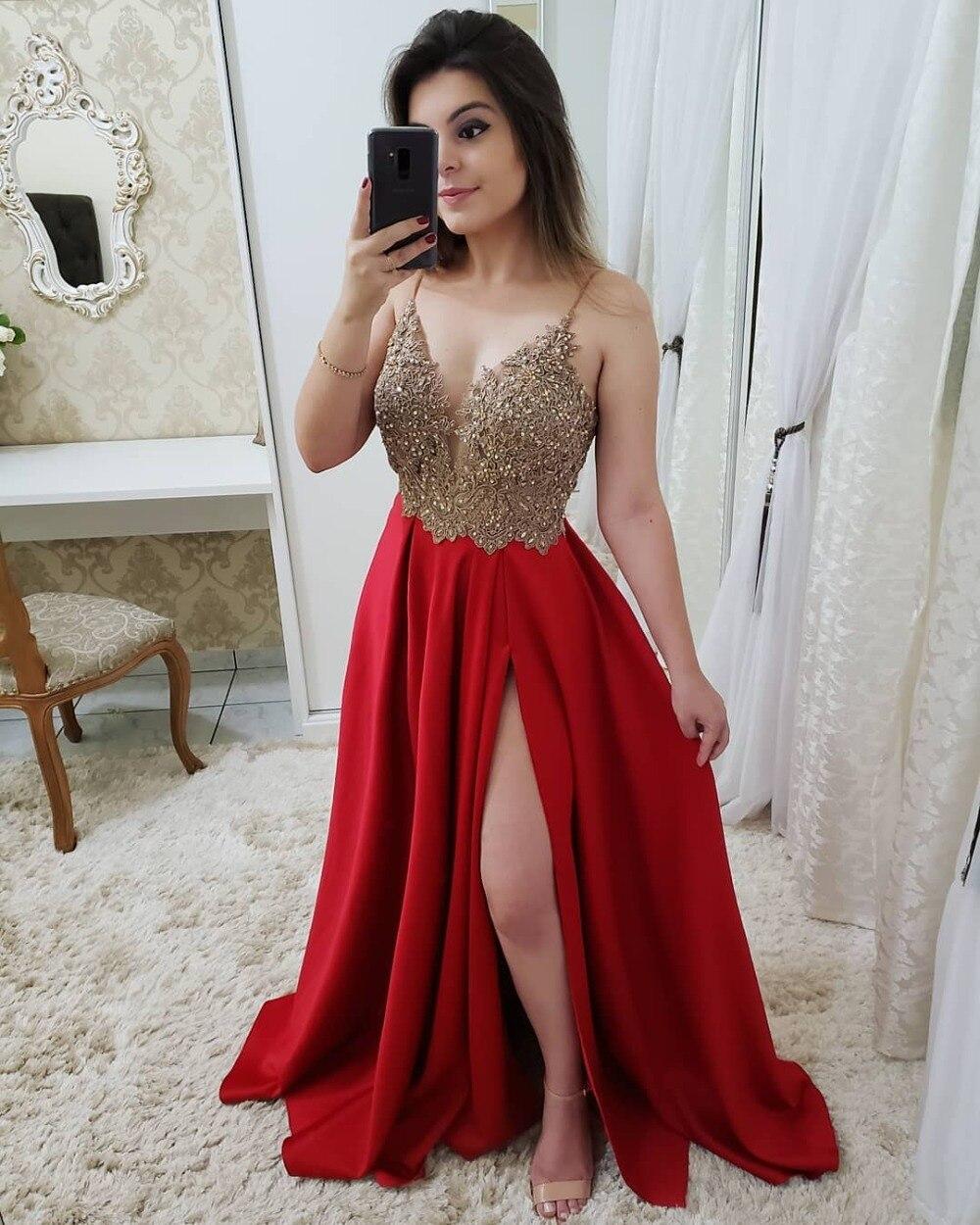 Sexy col en V rose bordeaux rouge bleu marine robes de bal longue 2019 perlée Appliques réfléchissantes robe côté fente robes de soirée