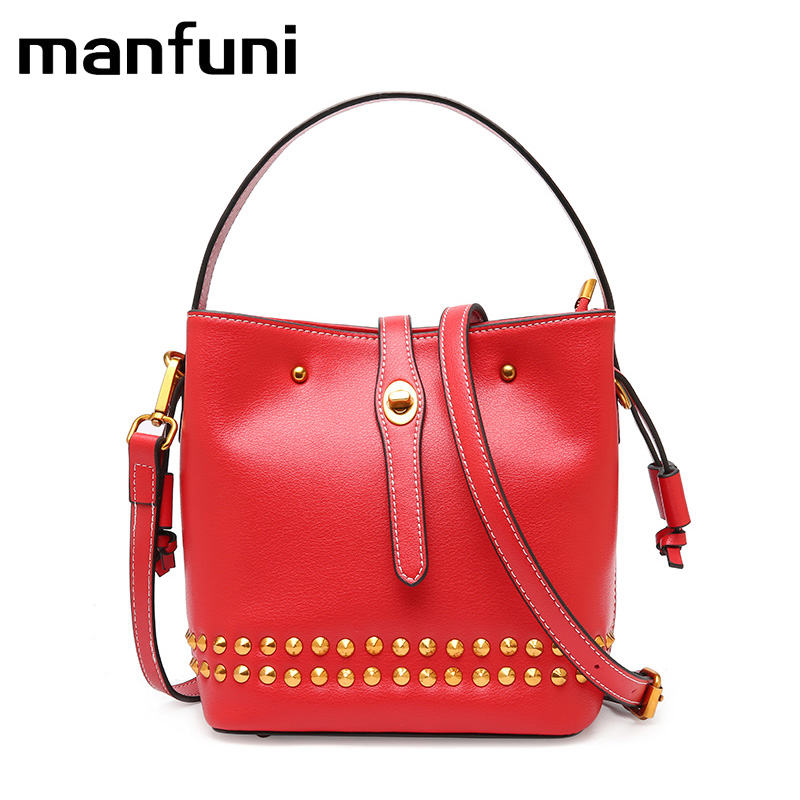 WILIAMGANU Genuine Leather Small Handbags Tassel leather Shoulder Bags Female Real First Layer Cow Leather Rivet Messenger Bags zency genuine leather small women shoulder tassel bags tote handbags first layer cow leather ladies messenger bag satchel