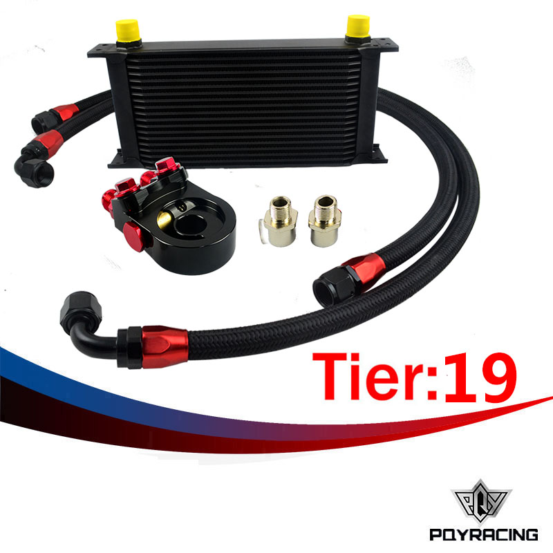 PQY RACING- Universal 19ROWS OIL COOLER ENGINE KIT +AN10 oil Sandwich Plate Adapte with Thermostat +2PCS NYLON BRAIDED HOSE LINE