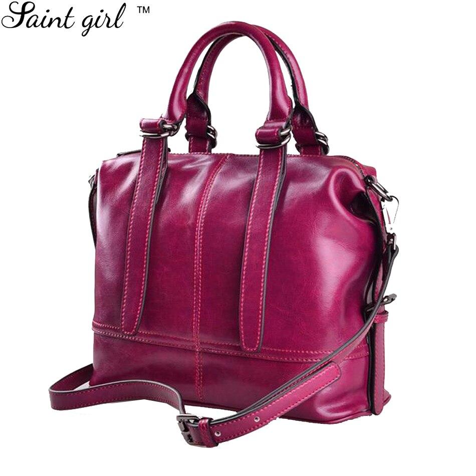 Saint Girl Women Handbags Thread Genuine Leather Casual Totes Bags Black Double Belts Satchel Shoulder Bag Ladies Bolsos SNS206 enopella thread casual pu leather women