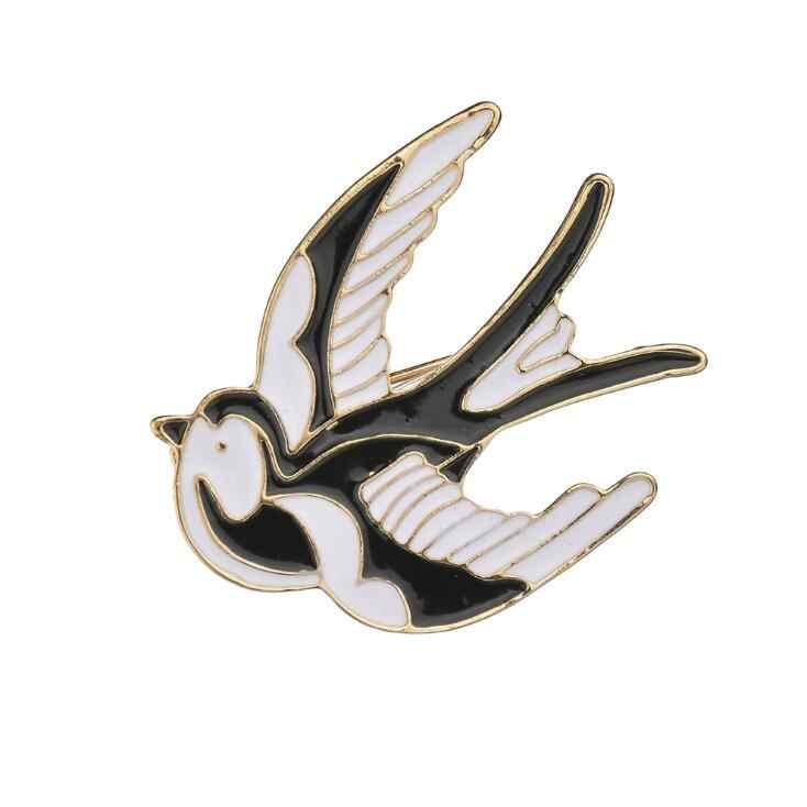 Lucu Burung Biru Enamel Swallow Bros Jilbab Pin Up Logam Korsase Desainer Pernikahan Bahu Syal Gaun Klip untuk Wanita Gadis