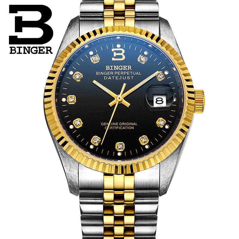 BINGER Mens Auto Mechanical Watches Stainless Steel Crystal Waterproof Lover Wristwatch Couple Diamond Waterproof Goldplate B552