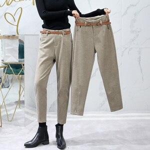 Image 2 - Korean Winter Wool Pants women New High Slim Waist Belted Harem Elegant Trousers Female Autumn Warm Womens Long Pants F201