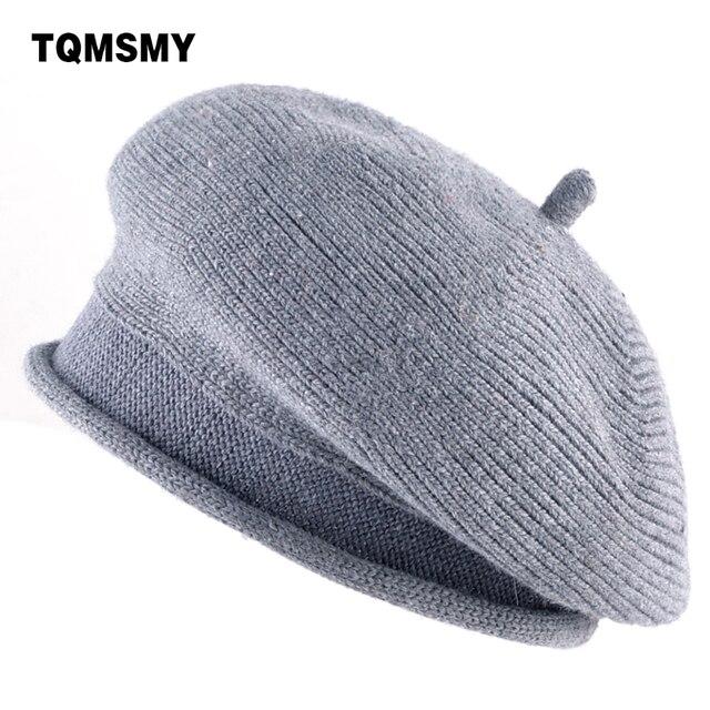 Lã misturado tecido TQMSMY chapéu Boinas gorro de Lã de Malha das Mulheres  planas Senhoras Casuais c2c02ec78a6
