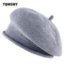Lã misturado tecido TQMSMY chapéu Boinas gorro de Lã de Malha das Mulheres  planas Senhoras Casuais bfcce9d9e82
