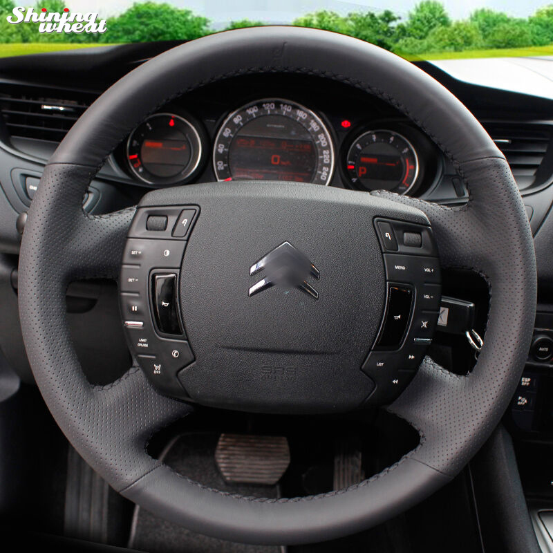 Shining wheat Hand-stitched Black Leather Steering Wheel Cover for Citroen C5