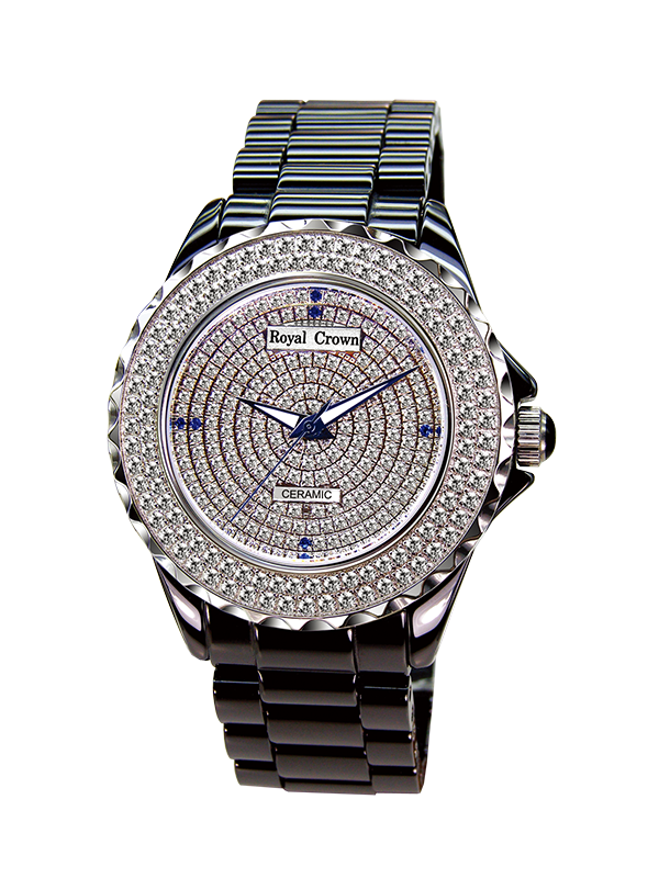 Royal Crown Jewelry Watch 3821M-1 Italy brand Diamond Japan MIYOTA J12 ceramic Quartz Watches Diamond Wristwatch Relogio невидимки royal diamond заколка