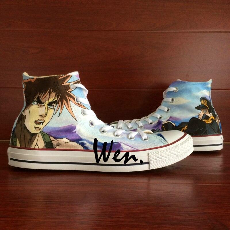 Prix pour Wen Custom Design Anime Peint À La Main Chaussures Toile de Bizarre Adventure High Top Hommes Femmes Sneakers pour Cadeaux