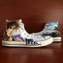 Wen Design Custom Anime Hand Painted Shoes Bizarre Adventure High Top Men Women's Canvas Sneakers for Gifts