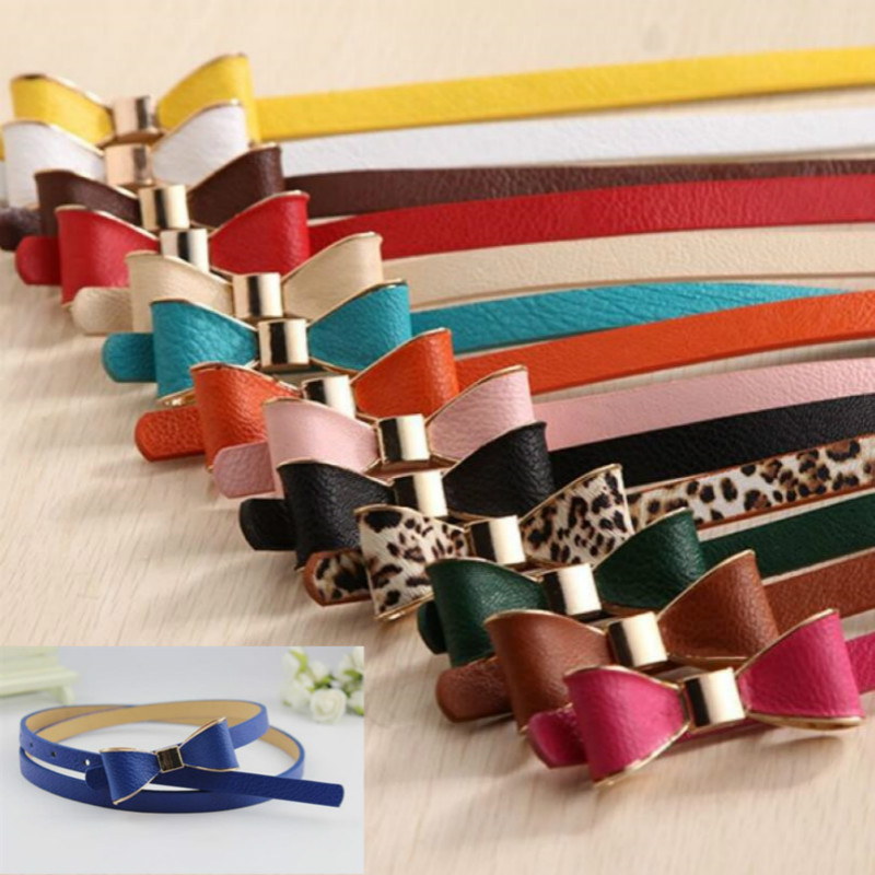 1psc Fashion Women Belt Summer 12 Color Women Belts Luxury Brand Colorful Bow Leather Belt Ladies Waistband Apparel Accessories