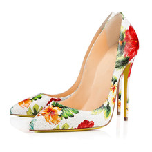 2018 New Arrive Women Shoes Flower Printed Sexy Stilettos High Heels Pointed Toe Party Pumps shoes Big Size TL-A0099