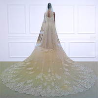 Free Shipping Wedding Veils Veu De Noiva Lace 3.5 M Long Wedding Veils Ivory/White One layer Tulle Bridal Veils accessories 2018