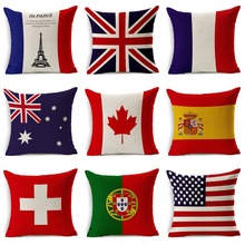 2018 Pillowcase USA The United Kingdom French Canada Flag  For  Bedroom Throw Pillow Cotton Linen Decorative Pillow Cover
