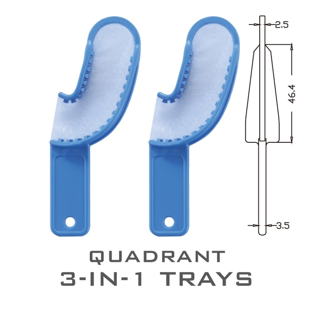 24 Pieces Hot Selling 3-IN-1 Dental Products Disposable Plastic Quadrant Tray