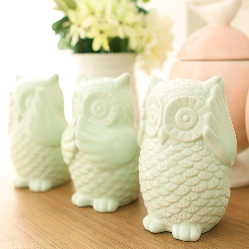 light green white handmade ceramic owl ornaments porcelain