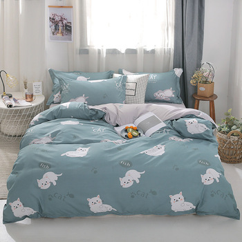 Cartoon Cat 4pcs Girl Boy Kid Bed Cover Set Duvet Cover Adult Child Bed Sheets And Pillowcases Comforter Bedding Set 2TJ-61016 image