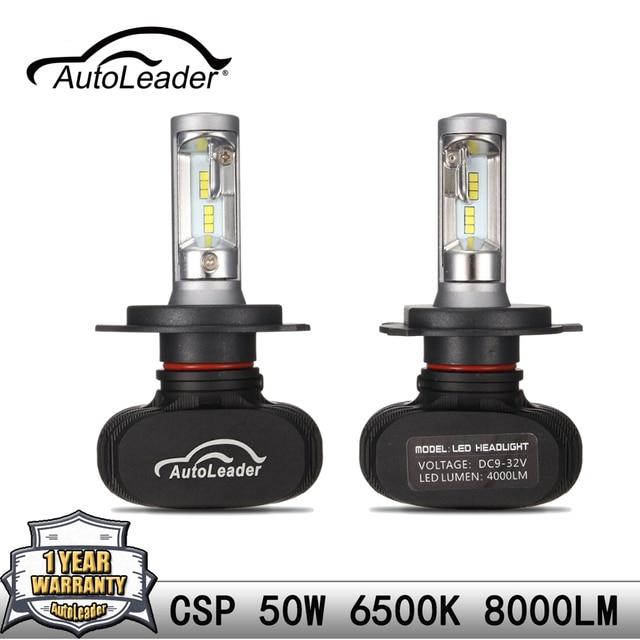 AutoLeader H4 H7 H11 9006 9005 1 пара светодиодный фар автомобиля лампы Hi-Lo луч авто светодиодный налобный фонарь CSP чип 50 W/Set 6500 K 8000LM укладки