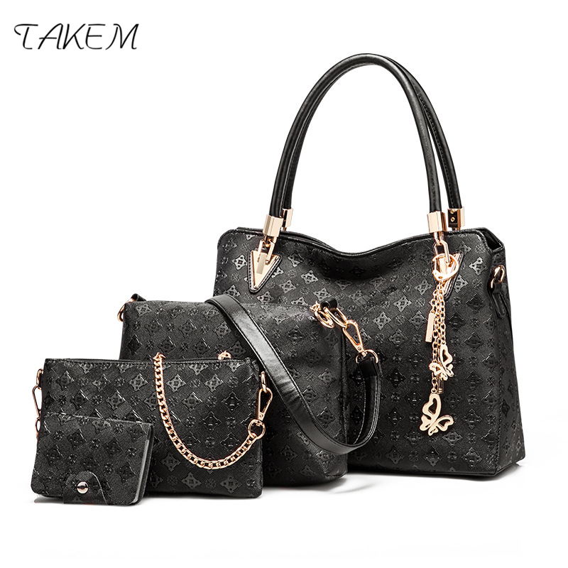 TAKEM luxury 4 pcs/set Handbags Female Tote Bag Tassel Women Solid Shoulder Bags Women Messenger Bag PU Leather Composite Bag jooz brand luxury belts solid pu leather women handbag 3 pcs composite bags set female shoulder crossbody bag lady purse clutch