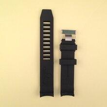 20mm 22mm interface final curvo Pulseira de Borracha de Silicone À Prova D' Água para esportes Relógios Mens Assistir Acessórios fit preto marca