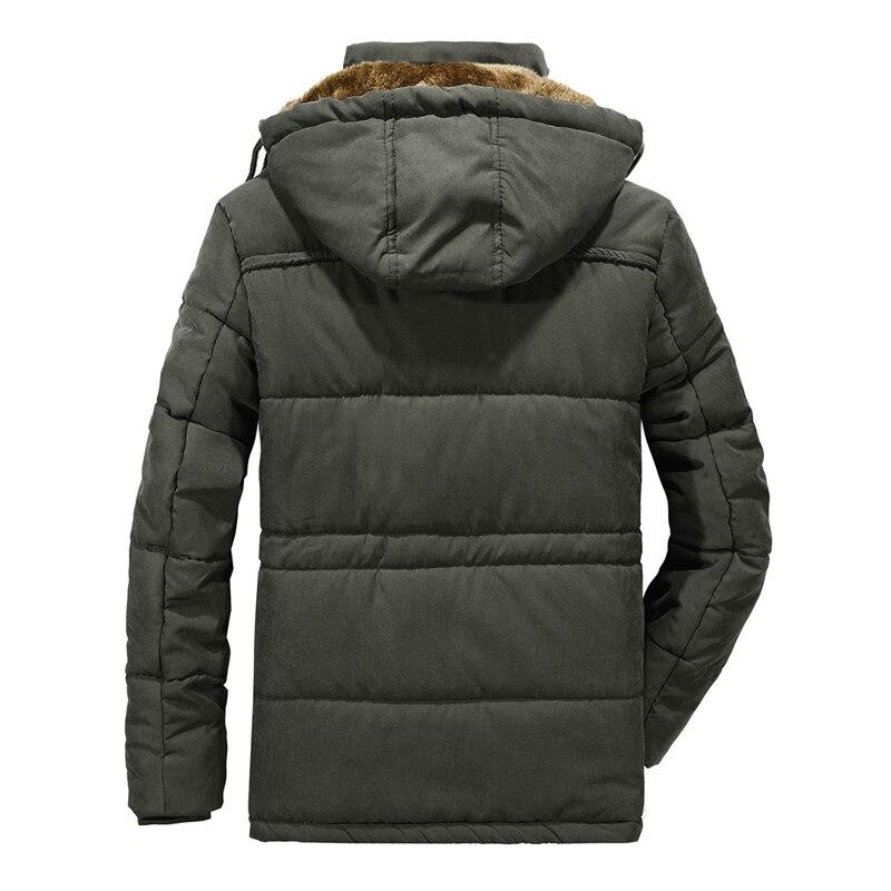 Homme hiver veste grande taille 6XL 7XL 8XL épais chaud Parka polaire fourrure à capuche militaire veste poches coupe-vent veste hommes - 2