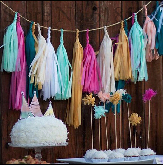 50pcs10packs event party supplies birthday 14inch 35cm tissue paper party paper tassel - Cheap Party Decorations