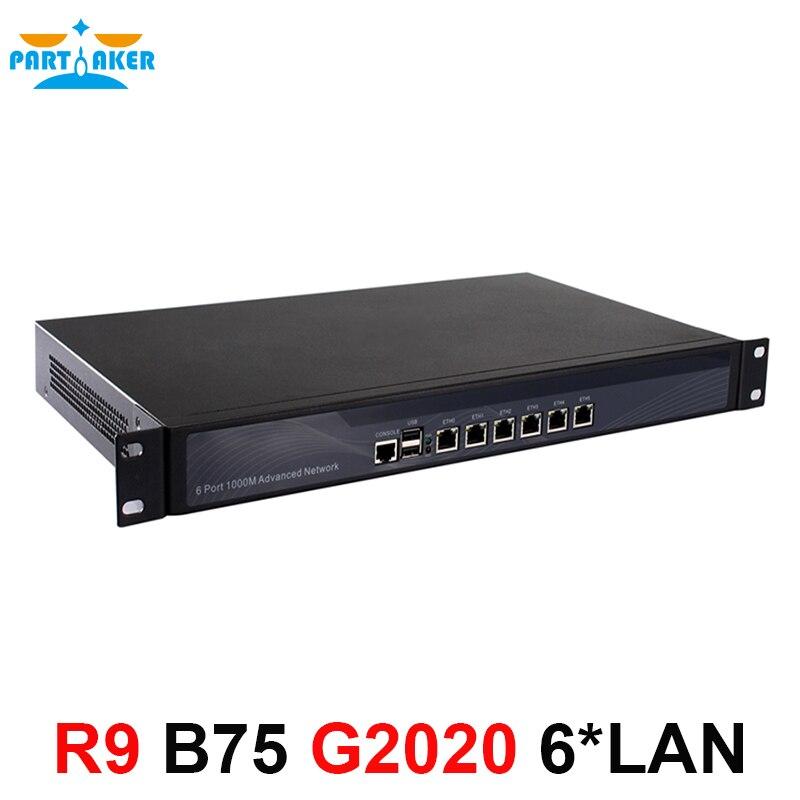 1U Firewall router server with 6 intel PCI-E 1000M 82853V LAN Intel Pentium G2020 2.9G Mikrotik ROS Pfsense B75