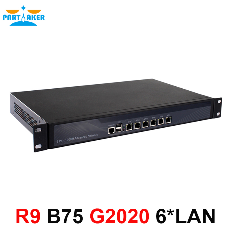 1U routeur Pare-Feu serveur avec 6 intel PCI-E 1000 m 82853 v LAN Intel Pentium G2020 2.9g Mikrotik ROS pfsense B75