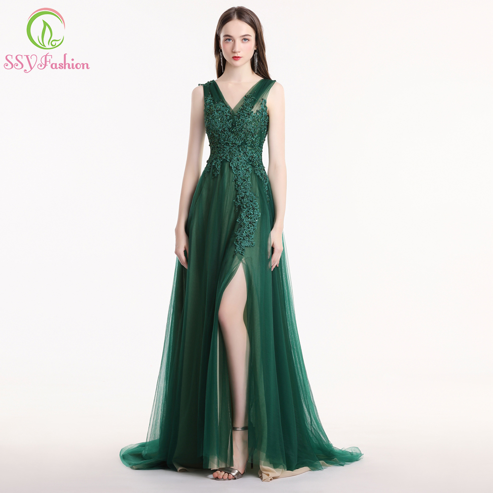 SSYFashion New Green Lace Evening Dress Sexy Sweep Train Sleeveless Appliques Beading High-split Party Prom Gown Robe De Soiree