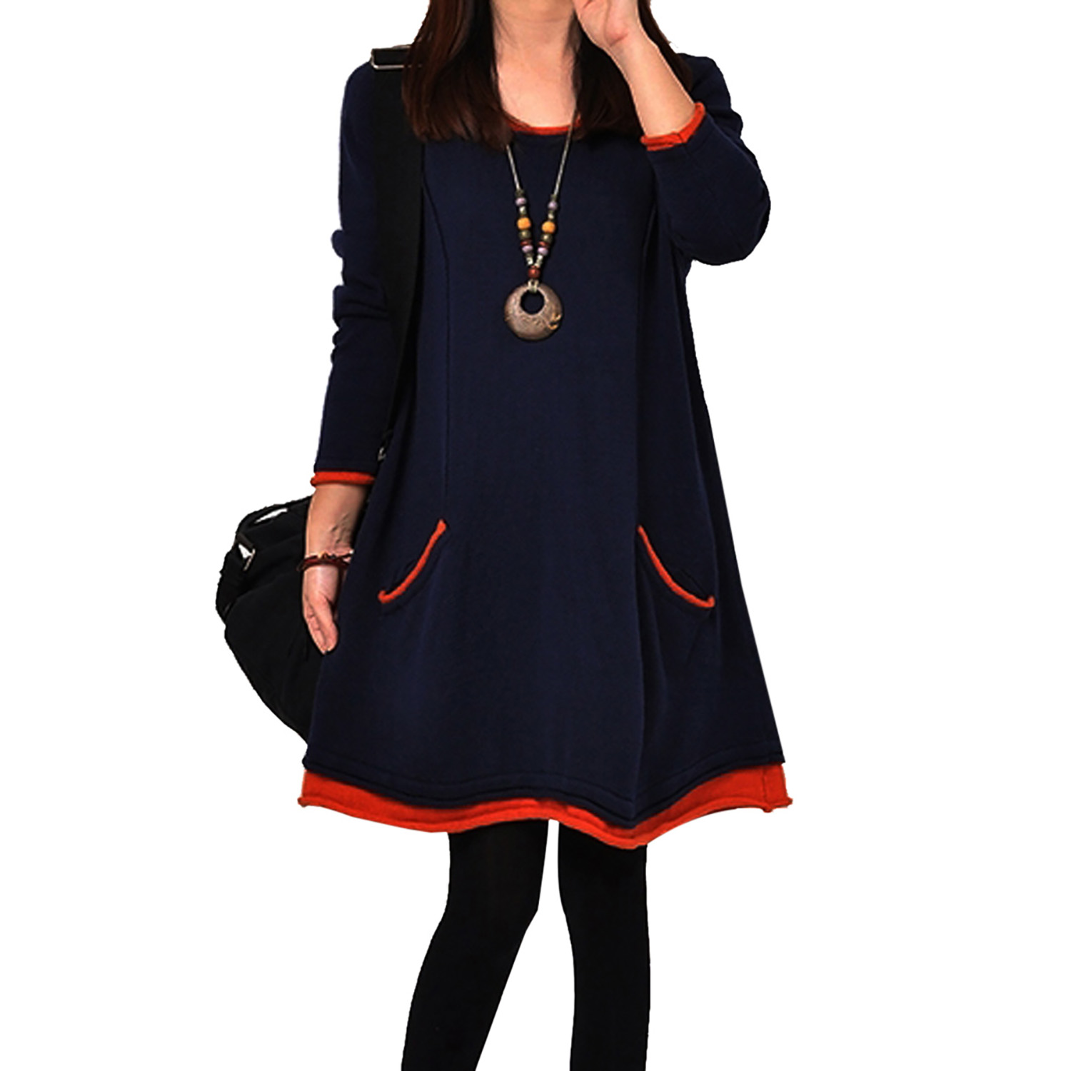 fe794d73eb51 2019 Casual Women Spring Autumn A line dress Pullover Long Sleeve Round  Neck Patchwork Mid Waist