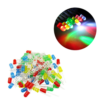 100Pcs Free Shipping Green/Red/Yellow/Blue/White 3mm Through Hole High Brightness LED Diode image