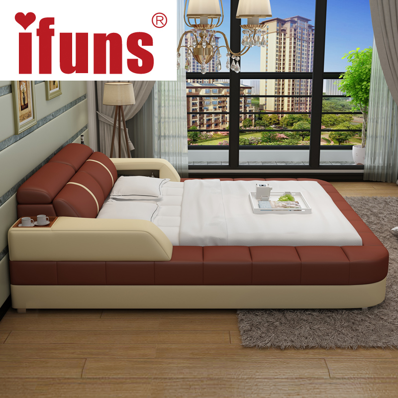 Name Ifuns Luxury Bedroom Furniture Modern Design King Queen Size Genuine Leather