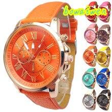 Bowaiwen #8026 Женщина Женские часы Стильные Цифры Искусственной Кожи Аналоговый Кварцевые Наручные Часы