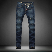 new designer brand of pants jeans straight hole boy jeans men