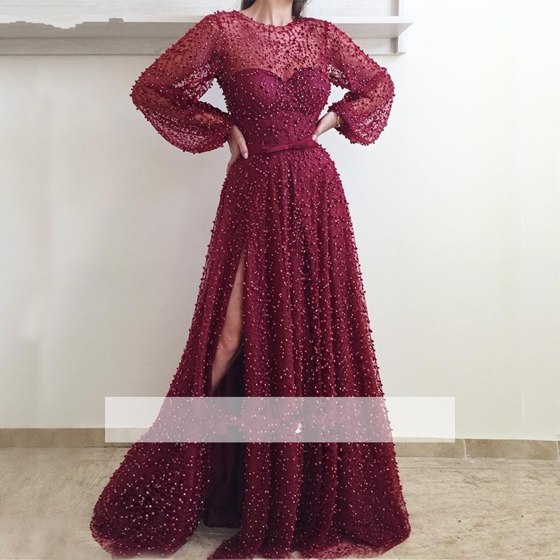 Burgundy Muslim   Evening     Dresses   2019 A-line Long Sleeves Tulle Pearls Slit Islamic Dubai Saudi Arabic Long Formal   Evening   Gown
