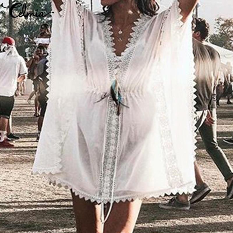 2019 женское богемное летнее платье с v-образным вырезом и рукавами «летучая мышь», платье-туника, кружевное мини-платье, Пляжное Платье