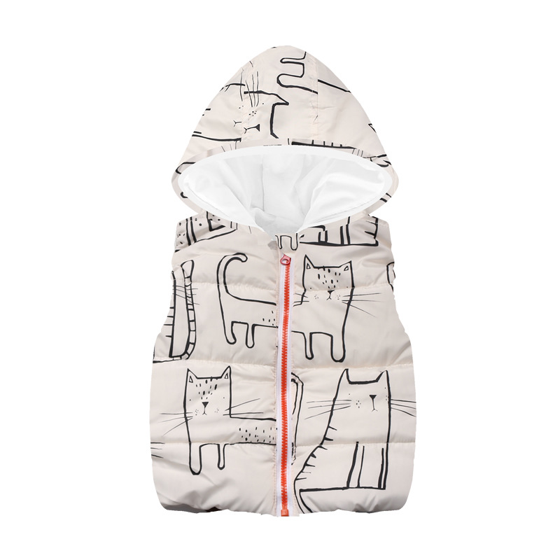 Fleece Children Waistcoat Hooded Baby Boys Coat Fashion Hoodies Boy Vest Tank Tops Kid Outfit Clothing Outwear Sleeveless Jacket 2